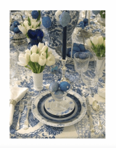 Blue and White Easter Tablescape 1 and Spring Decorating