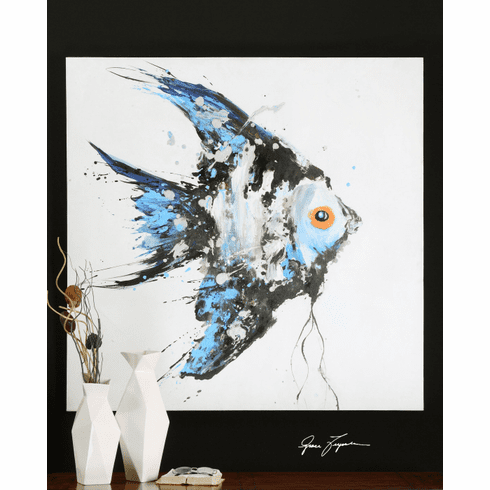 """Blue Angelfish Painting on Canvas 48"""""""