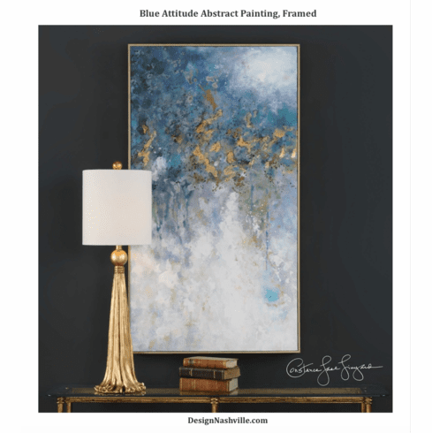"Blue Attitude Abstract Painting 53"", framed"