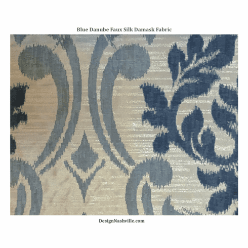 Blue Danube Faux Silk Damask Fabric