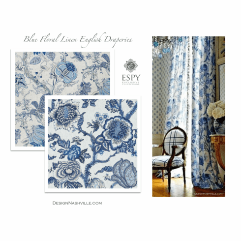 Blue Floral on Linen English Draperies