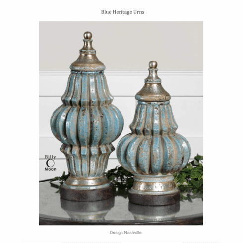Blue Heritage Urns set of 2