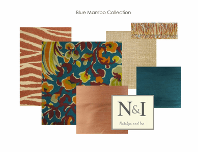 Blue Mambo Bedding and Drapery Collection