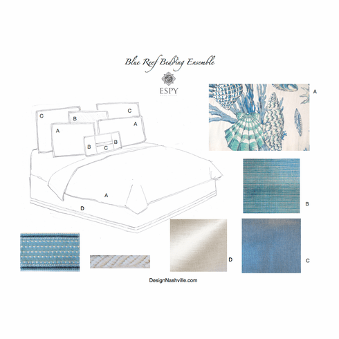 Blue Reef Embroidered Bedding Ensemble