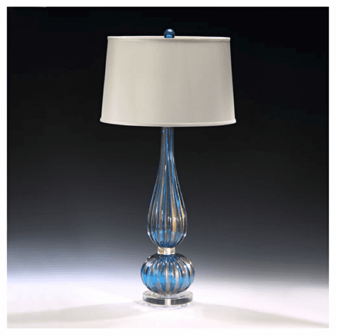 Blue Strié Venetian Glass Lamp