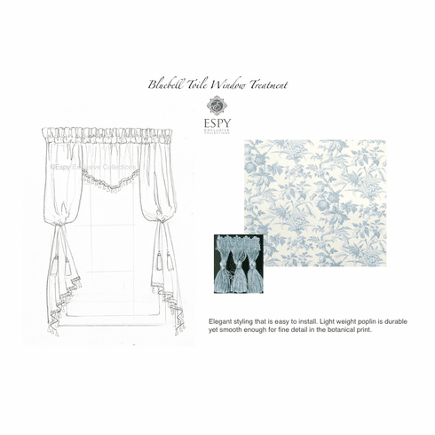 Bluebell Toile Window Treatment