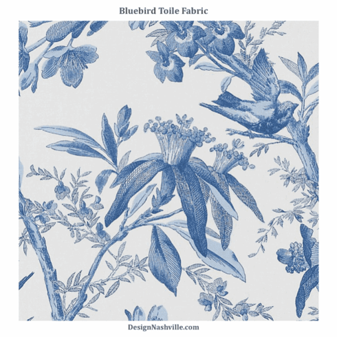 Bluebird Toile Fabric SWATCH