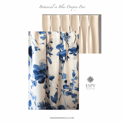 Botanical Blue Drapery <STRONG>PAIR</STRONG> deluxe fullness
