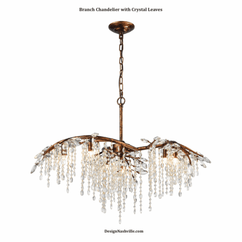 Branch Chandelier With Crystal Leaves