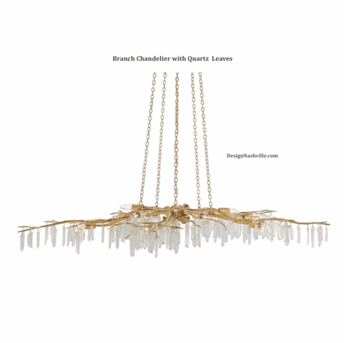 Branch Chandelier with Quartz Leaves