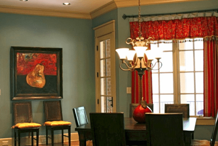 Breakfast Room: red and slate blue