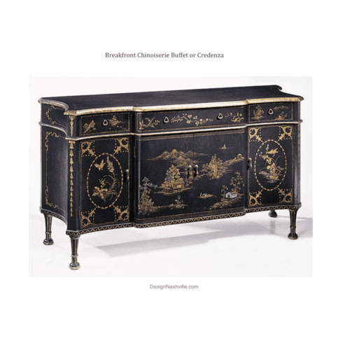 Breakfront Chinoiserie Buffet or Credenza