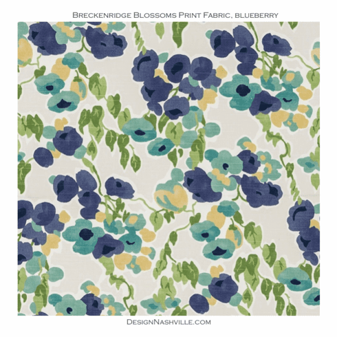 Breckenridge Blooms Floral Fabric <br>blueberry