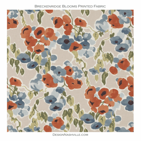 Breckenridge Blooms Printed <br>Fabric - denim and persimmon