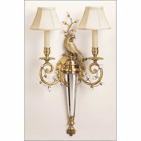 Breckenridge Peacock Brass Sconce
