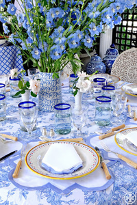 Bright Blue and White Tablescape for Easter, Spring, and Summer