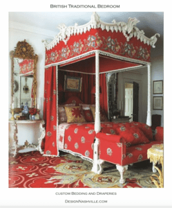 British red, updated traditional bedroom