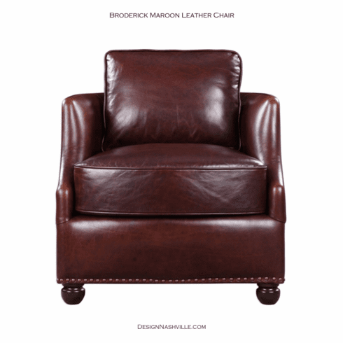 Broderick Maroon Leather Chair