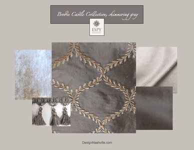 Brodie Castle Drapery and Bedding Collection, shimmering gray