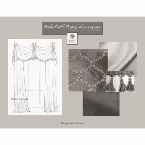 Brodie Castle Drapery Treatment, shimmering gray