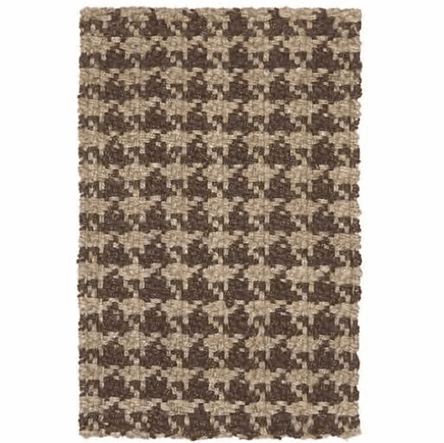 Brown Natural Hounds Tooth Rug