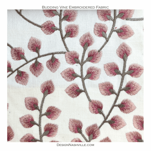 Budding Vine Embroidered Fabric mulberry frost