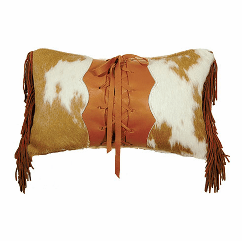 Caramel and Cream Lace up Leather Pillow