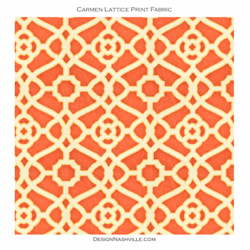 Carmen Lattice Print Fabric,<br> red orange