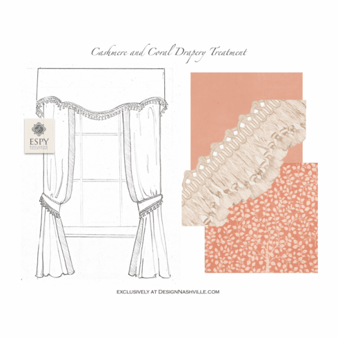 Cashmere and Coral Drapery <br>Treatment with scalloped silk trim