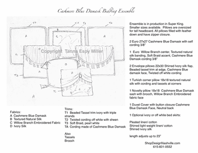 Cashmere Blue Damask Bedding Drawing and Specifications