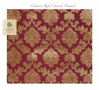 Cashmere Ruby Chenille Damask