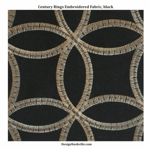 Century Rings Embroidered Fabric, color black