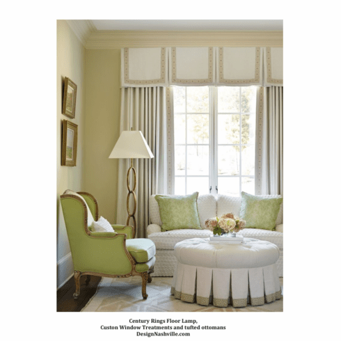 Century Rings Floor Lamp, lime and white living room
