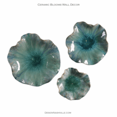 Ceramic Blooms Wall Decor blue-green