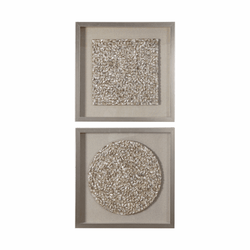 Champagne Pearl Shadow Boxes set of 2