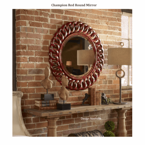 Champion Red Round Mirror