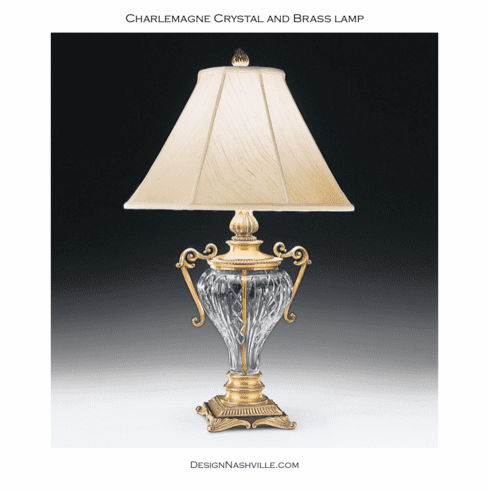 Charlemagne Crystal and Brass Lamp