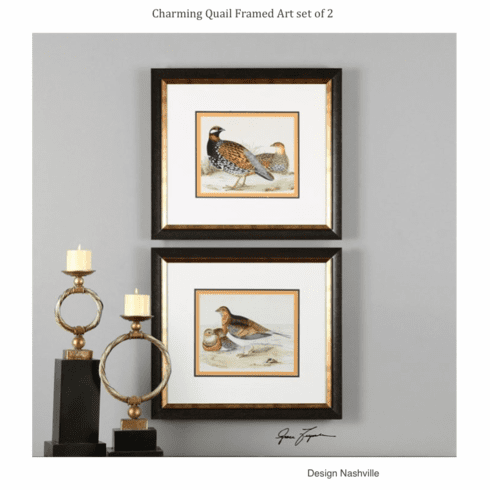 Charming Quail Framed Art set of 2