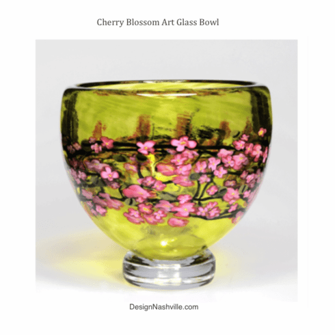 Cherry Blossom Art Glass Bowl
