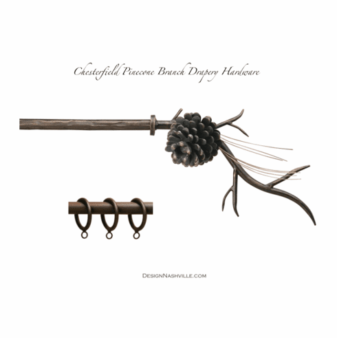 Chesterfield Pinecone Branch Steel Drapery Hardware