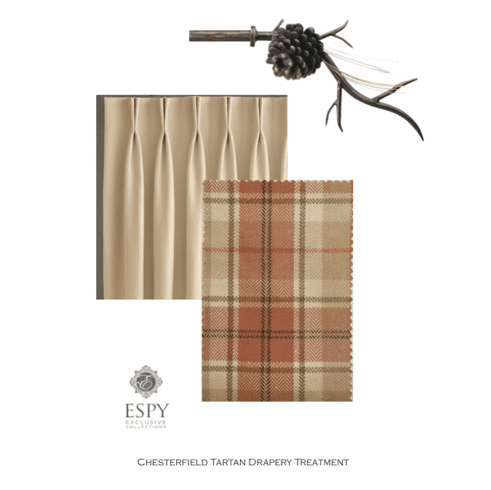 Chesterfield Tartan Drapery with Pinecone Metal Hardware