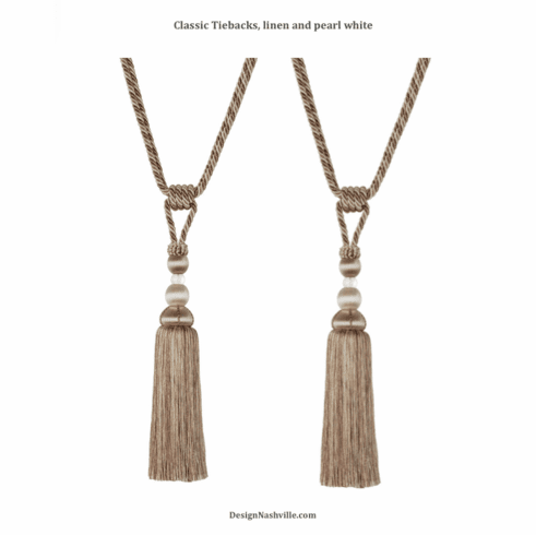 Classic Tassel Tiebacks, linen and pearl white