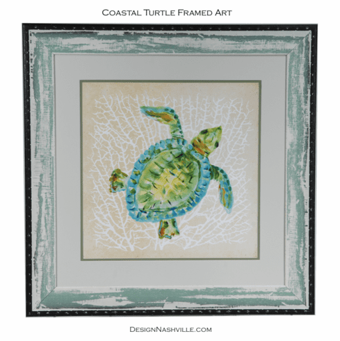 Coastal Turtle Framed Art 29x29""