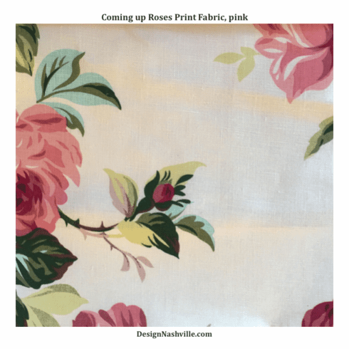 Coming Up Roses Linen Print Fabric, rose pink