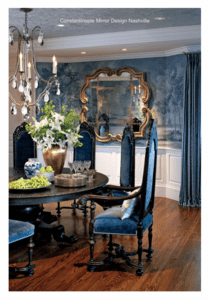 Constantinople Mirror in a teal dining room