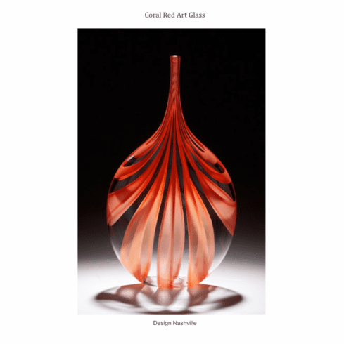 Coral Red Art Glass Vase
