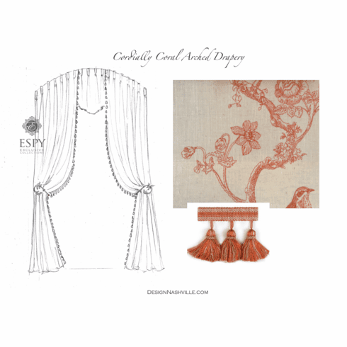Cordially Coral Arched Drapery Treatment