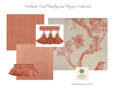 Cordially Coral Bedding and Drapery Collection