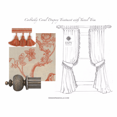Cordially Coral Drapery Treatment with Tassel Trim