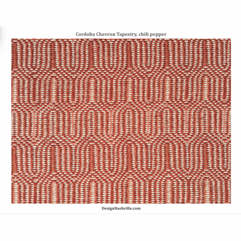 Cordoba Chevron Tapestry Fabric,<br>color chili pepper